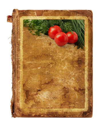 Old blank recipe book  with photo of tomato and spices on white isolated background