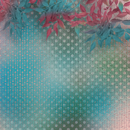 Autumnal branch of  tree on abstract turquoise background with pea pattern