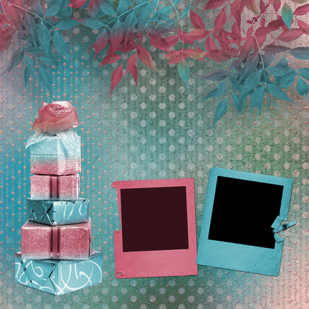 Card for congratulation or invitation with slides and gift boxes Stock Photo