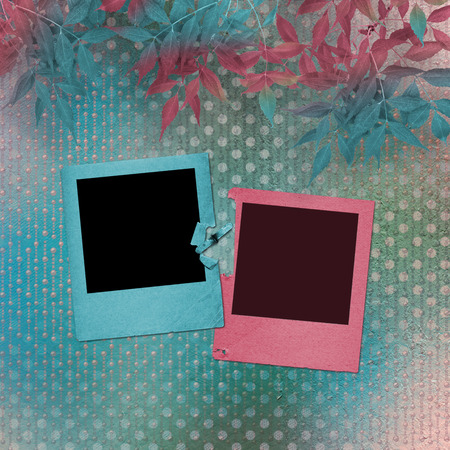 Grunge papers design in scrapbooking style with slides and foliage