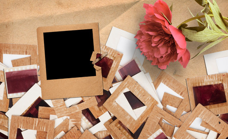 Set of old vintage slides, photos and film with peony in grunge paper album Stock Photo