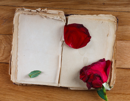 Open old book with blank pages for text and dry rose on vintage wooden table Archivio Fotografico
