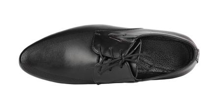 Black elegant mens shoes on white isolated background