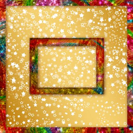 Old grunge frames on the blur boke star background Stock Photo