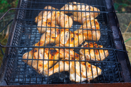 Fresh chicken legs on metal grill. Summer picnic in nature