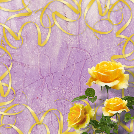 Beautiful yellow rose with green leaves on the abstract multicolored background Stock Photo