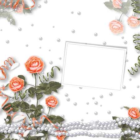 Holiday card with pearls and bouquet of beautiful red roses on white isolated background, for congratulation or invitation