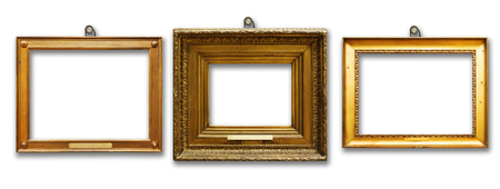 Set of three vintage golden baroque wooden frames on white isolated background Stock Photo