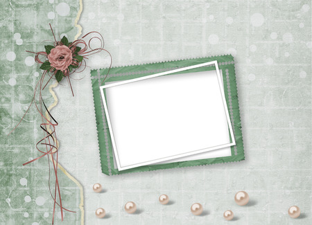 Beautiful roses with bows, ribbons and pearls on abstract paper background for festive invitation or greeting