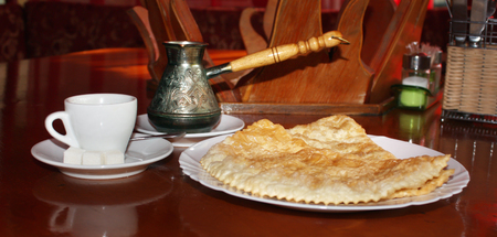Hot Turkish coffee with fresh national traditional Caucasian pastries Stock Photo