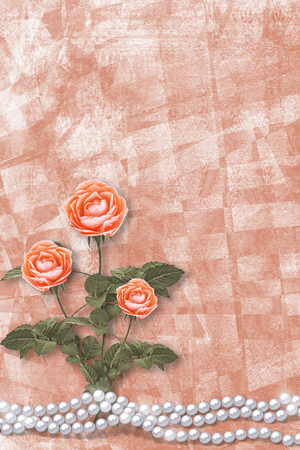 Holiday card with pearls and bouquet of beautiful  roses on peach paper background, for congratulation or invitation