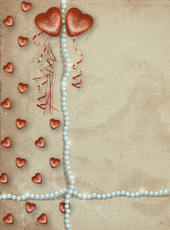 Old shabby vintage style scrapbook card with symbolic heart for Valentines Day Stock Photo