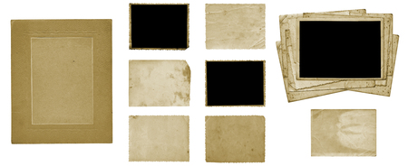 Set of old vintage dirty photo postcards and album sheets on white isolated background