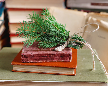 Spruce twig tied up with old rope on stack of old vintage books in university library