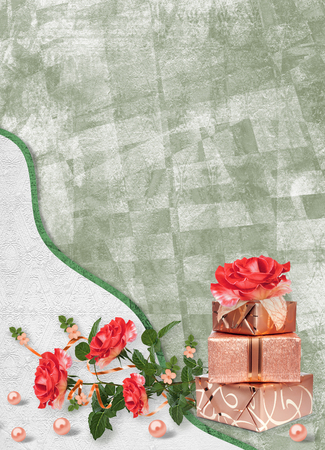 Holiday card with gift boxes, pearls and bouquet of beautiful red roses on green paper background, for congratulation or invitation