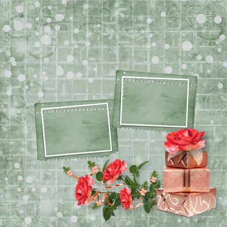 Holiday card with gift boxes and bouquet of beautiful red roses on green paper background, for congratulation or invitation