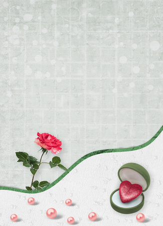 Holiday card with pearls and bouquet of beautiful red roses on green paper background, for congratulation or invitation