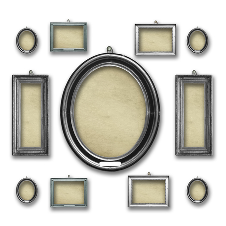 Set wooden vintage silver victorian frames  for museum exhibition  on isolated white background background