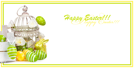 Easter eggs and funny bunny isolated on white background. Holiday card for invitation or congratulations