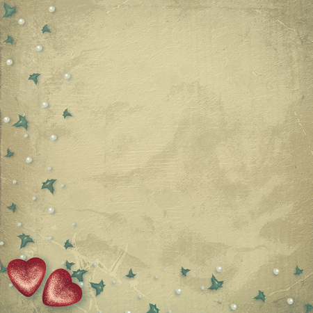 Old shabby vintage style scrapbook card with symbolic heart for Valentines Day Banco de Imagens