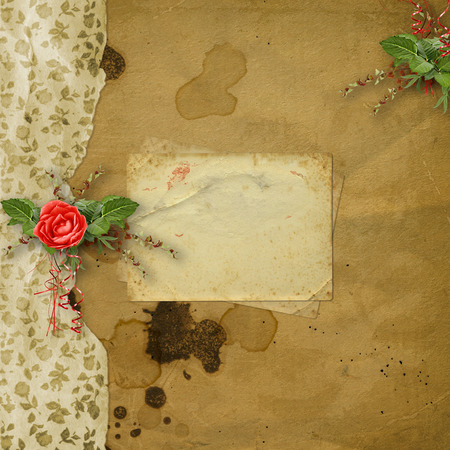 Festive greeting card with beautiful roses and  photo frame for invitations or greetings