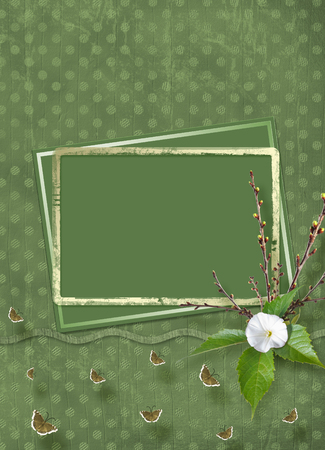 Beautiful delicate bouquet of bindweed and flowering branches with ribbons, butterflies and bows in  style of scrapbook for invitations or greetings Banco de Imagens