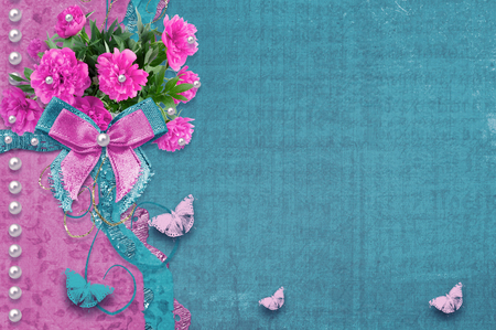Old vintage photo album with beautiful pink peonies and butterflies flying Stock Photo