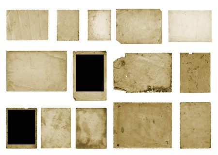 Set of old vintage dirty photo postcards on white isolated background Standard-Bild - 117164076