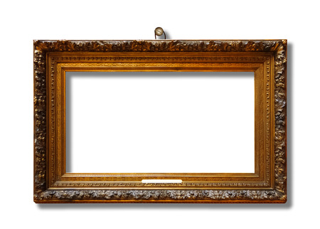 Picture gold wooden frame for design on white isolated background with nail and shadow Stock fotó