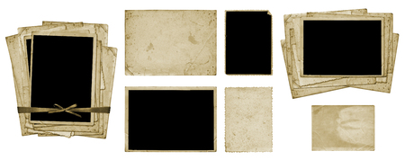 Set of old vintage dirty photo postcards and album sheets on white isolated background Standard-Bild - 117165712