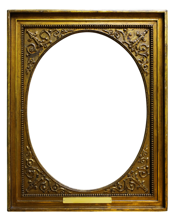 Picture gold wooden tondo frame for design on white isolated background