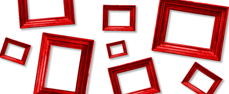 Set wooden vintage red victorian frame for museum exhibition on white isolated background