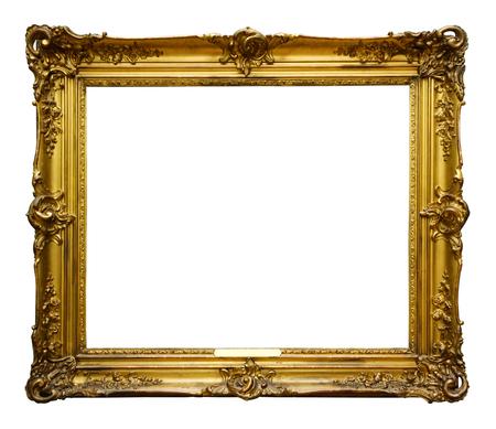 Bild gold verzierten Holzrahmen für Design auf weißem Hintergrund isoliert