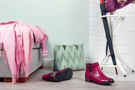 Stylish hallway interior with with clothes and shoes in pink color