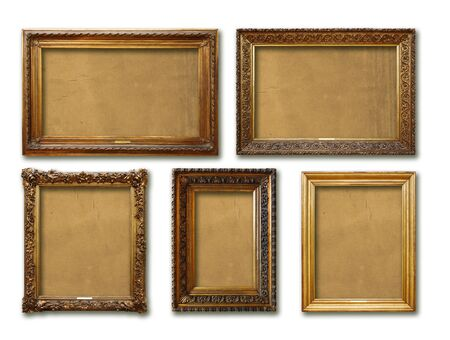 Set of vintage golden baroque wooden frames on white isolated background