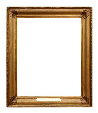 Picture gold wooden ornate frame for design on white isolated background