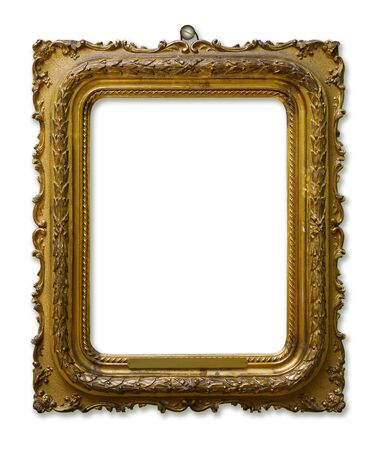 Picture gold wooden frame for design on white isolated background with nail and shadow 免版税图像