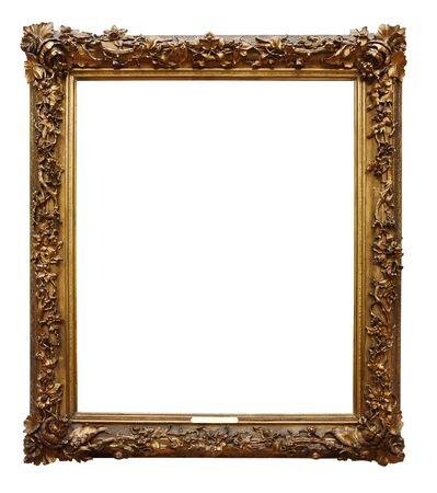 Foto gouden houten frame voor ontwerp op een witte geïsoleerde achtergrond Stockfoto