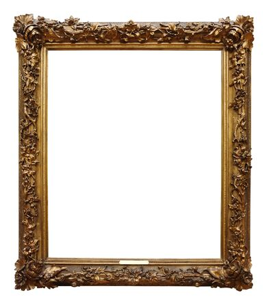 Picture gold wooden frame for design on white isolated background Imagens