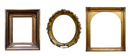Set of three vintage golden baroque wooden frames on white isolated background 免版税图像