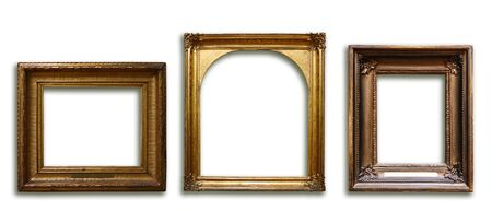 Set of three vintage golden baroque wooden frames on white isolated background Фото со стока