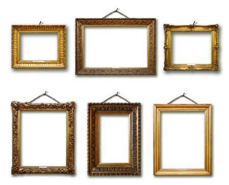 Set of picture gold wooden frame on white isolated background Фото со стока