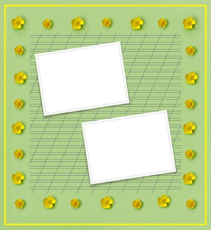 Beautiful delicate postcard with pattern of yellow buttercup flowers for holiday greeting or invitation. Flat lay, top view, copy space concept. Creative green trending background. Stock Photo