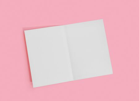 Empty white paper sheet for text on pink background.  Presentation template Form.