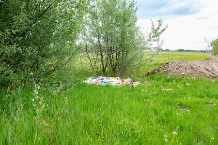 Pile of construction debris and waste near the summer young forest.  Environmental pollution. Foto de archivo