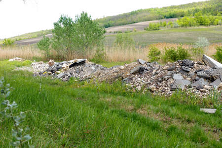 Pile of construction debris and waste near the summer young forest. Environmental pollution.