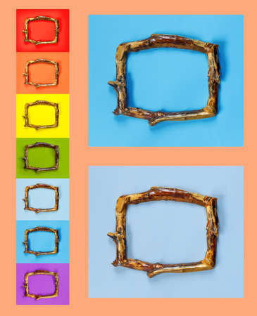 Multi Colored wooden frames in rustic style on bright coral wall. Beautiful collection