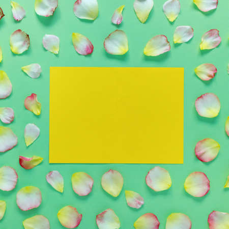 Beautiful rectangular pattern of pink and yellow rose petals and leaves on green paper background. Copy space for your text. Flat lay, top view, copy space concept.