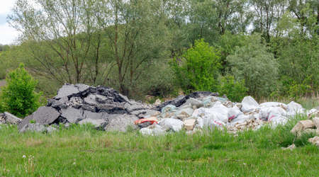 Dump of construction and household garbage in the forest.Environmental pollution. Foto de archivo