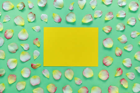 Beautiful rectangular pattern of pink and yellow rose petals and leaves on green paper background. Copy space for your text. Flat lay, top view, copy space concept. Foto de archivo - 155232920